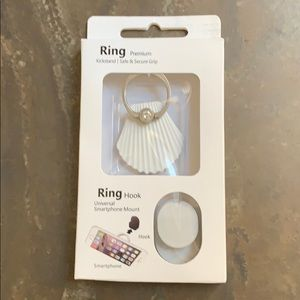 Sea Shell Bling Ring Hook/Kickstand For Cell Phone